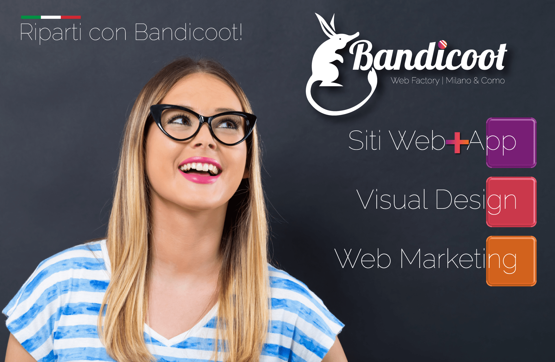 Ragazza con occhiali guarda logo di Bandicoot Web Factory Milano & Como con i suoi servizi principali: siti web, App, visual design, web marketing